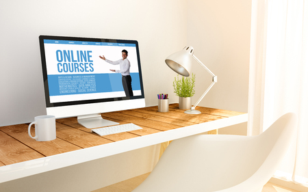 48d Generated Minimalist Workspace With Online Courses Screen Stock Stunning Home 3D Design Online Minimalist