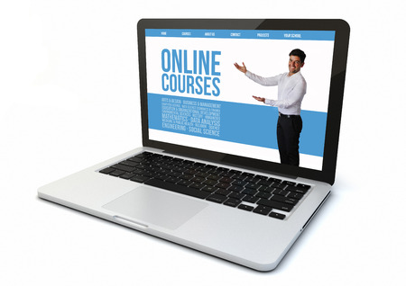 online education: render of a 3d generated computer with online courses on the screen. Screen graphics are made up.