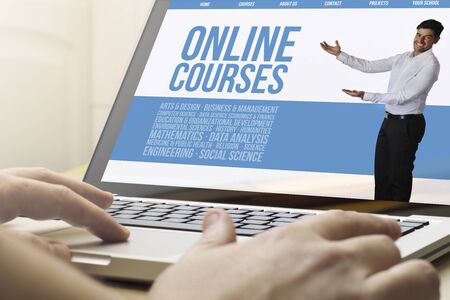 courses: online business concept: man using a laptop with online courses on the screen. Screen graphics are made up.