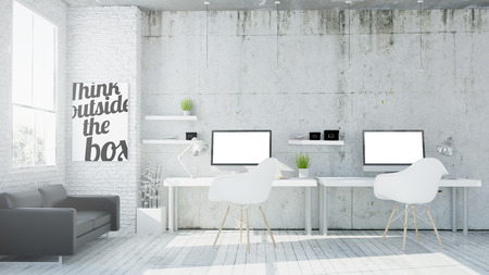 technology career: 3d rendering of coworking office