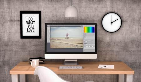 Desktop di lavoro generato digitali con software di modifica foto sullo schermo computer. Tutte le immagini sono composte. Generato 3D.