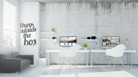 3d rendering of web design coworking office