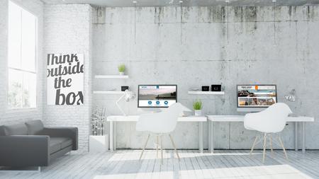 oficina: representación 3D de la oficina de coworking diseño web Foto de archivo