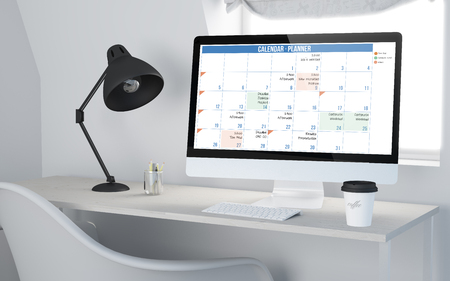 organize: 3d rendering of a desktop workplace with computer planner calendar. All screen graphics are made up.
