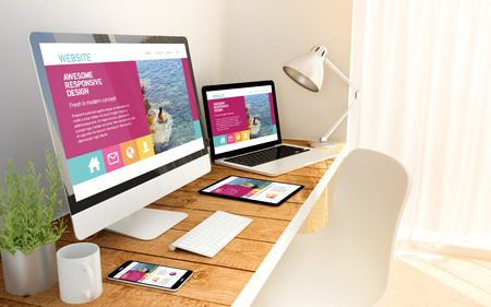 Digital generated devices over a wooden table with website responsive concept. All screen graphics are made up. 3d rendering.