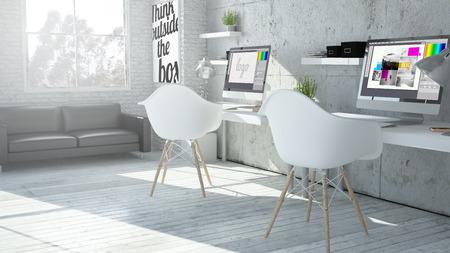 3D-weergave van de industriële coworking kantoor grafisch ontwerp