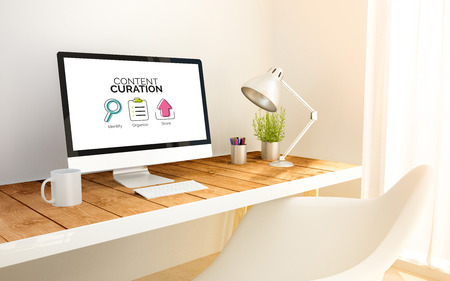 curator: 3d generated minimalist workspace with computer with Content curation graphic. 3d illustration. all screen graphics are made up. Stock Photo