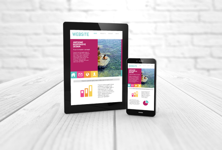 web screen: digital generated tablet and smartphone with fres web design on screen