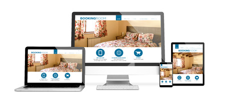 3d rendering of isolated devices with booking room responsive website design. All screen graphics are made up.