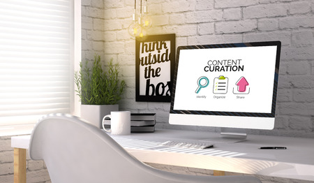stilish: Communication concept: Content curation scheme on the screen on stilish workplace. All graphics are made up. Stock Photo