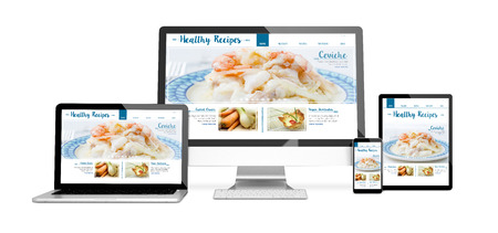 3d rendering of isolated devices with healthy recipes on screen. All screen graphics are made up. Stock Photo