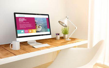 3d generated minimalist workspace with booking computer screen computer and copyspace. 3d rendering. all screen graphics are made up.