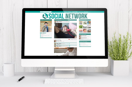 influencer: 3d rendering computer social network on computer. All screen graphics are made up.