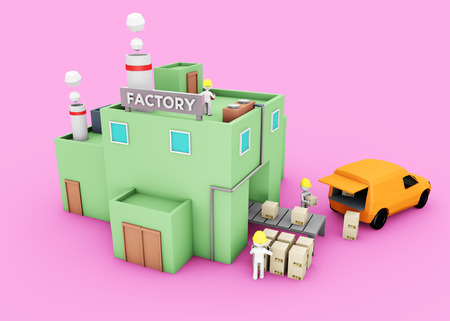 personnel: 3d rendering of factory with personnel