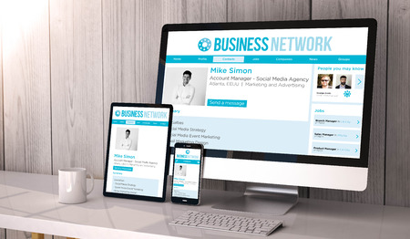 Digital generated devices on desktop, responsive Business network website design on screen. All screen graphics are made up. 3d rendering.