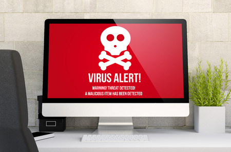 3d rendering of workspace with computer showing virus alert. All screen graphics are made up.