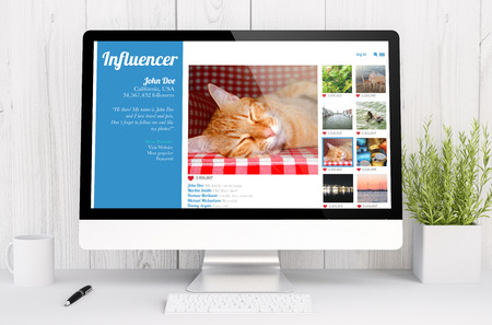 influencer: 3d rendering computer pet influencer social network on computer. All screen graphics are made up.