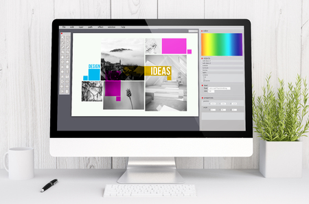 3d rendering graphic design software on computer. All screen graphics are made up.