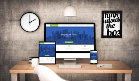 3D-rendering werkplek desktop met digitale tablet, computer, laptop en diverse office-objecten responsive design website op het scherm. Alle screen graphics zijn opgebouwd.