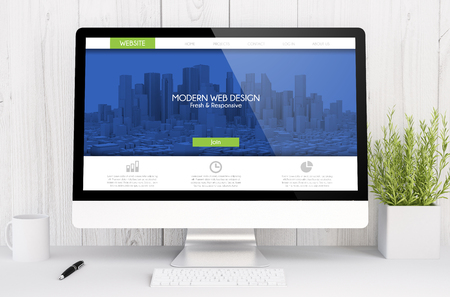 3D-weergave grafische webdesign software op computer. Alle schermafbeeldingen zijn opgebouwd.
