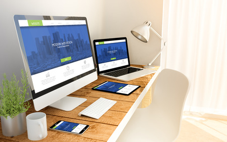Digital generated devices over a wooden table with fresh and modern responsive design website. 3d rendering. All screen graphics are made up. Standard-Bild