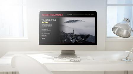 demand: workspace background with desktop computer. video on demand website on screen. 3d Rendering. Stock Photo