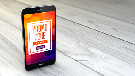 digital generated smartphone with promotional code over white wooden background. All screen graphics are made up.