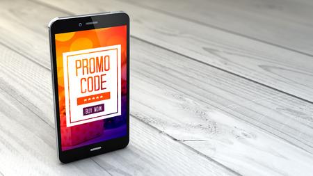 digitale gegenereerde smartphone met promotiecode op witte houten achtergrond. Alle schermafbeeldingen zijn samengesteld. Stockfoto