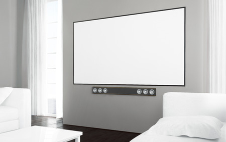 Big screen tv at living room with blank screen. 3d rendering.