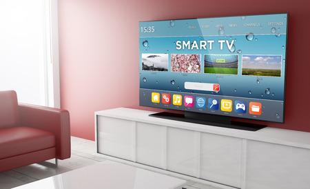 Smart TV op een woonkamer. 3D-rendering.