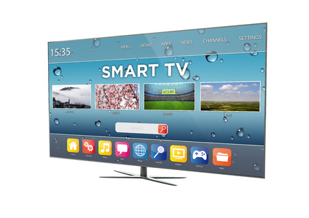 media center: render of a modern television with smart tv. 3d rendering.