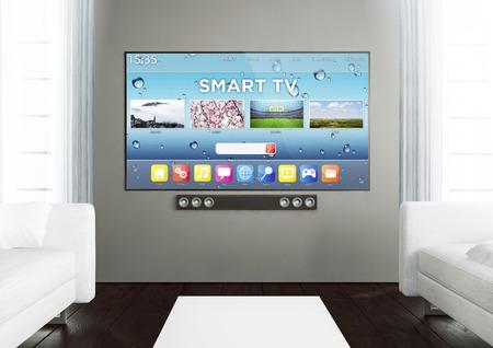 3D-rendering van Smart TV op een houten woonkamer