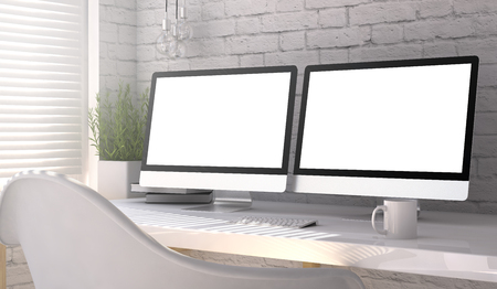 3d rendering of workspace with two blank monitors Фото со стока