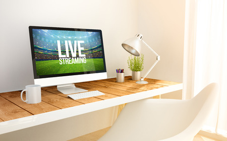 computers online: 3d rendering minimalist workspace with live streaming sports event on screen computer and copyspace.  all screen graphics are made up.