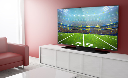 live streaming football on smart tv on a living room. 3d Rendering. Фото со стока