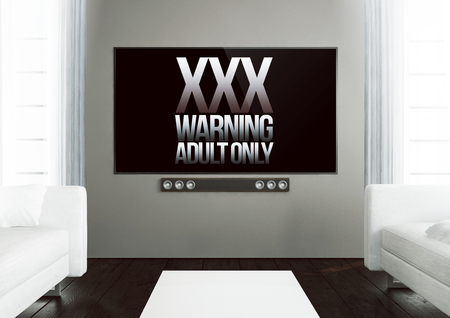 tft: 3d rendering of xxx warning on smart tv on a wooden living room Stock Photo