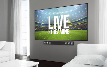 Big screen smart tv at living room with sports event live streaming app on screen. 3d rendering.