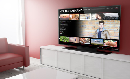 video on demandon Smart TV op een woonkamer. 3D-rendering.