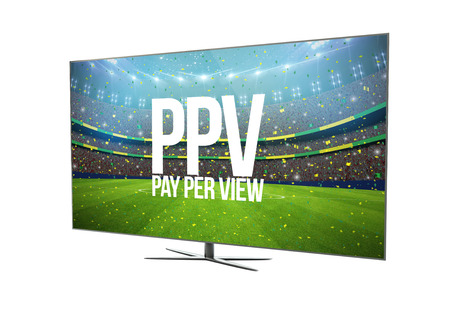 vod: render of a modern television with smart tv showing pay per view. 3d rendering.