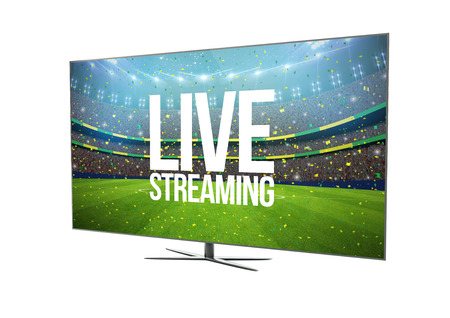 isp: render of a modern television with smart tv showing live streaming. 3d rendering.