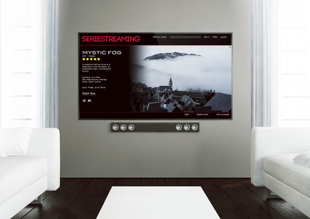 3D-Rendering-Serie auf Anfrage App auf Smart TV auf einem hölzernen Wohnzimmer