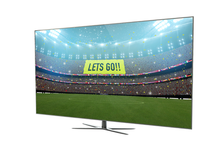 vod: render of a modern television with soccer stadium on screen. 3d rendering.