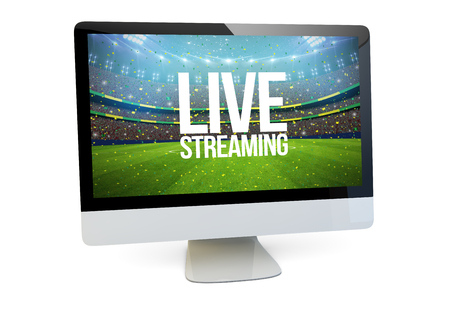 live streaming concept: render of a computer with sports event on the screen isolated. 3d rendering. Stock Photo