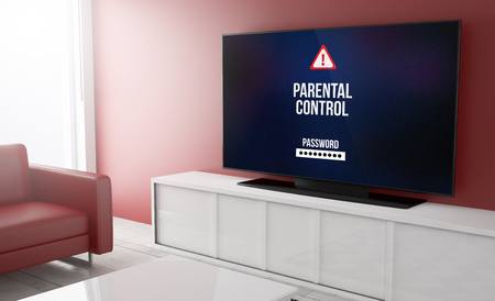 parental control: parental control on tv on a living room. 3d Rendering.