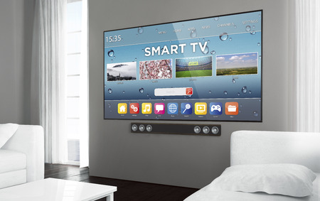 Big screen smart tv at living room. 3d rendering. Zdjęcie Seryjne