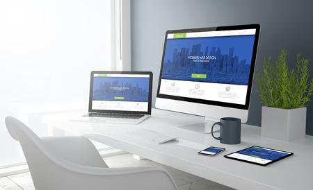 Representación 3D de escritorio con todos los dispositivos que muestran el sitio web de diseño moderno. Todos los gráficos de la pantalla se componen. Foto de archivo - 66372821