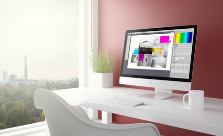 red studio with graphic design computer with london skyline in the background. 3d rendering.