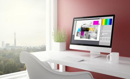 백그라운드에서 런던 스카이 라인을 사용 하여 그래픽 디자인 컴퓨터와 빨간 스튜디오. 3d 렌더링입니다.