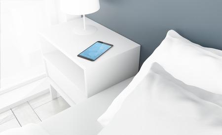nightstand: bedroom with alarm clock on smartphone. 3d rendering. Stock Photo