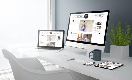 representación 3D de escritorio con todos los dispositivos que muestran blog de diseño moderno. Todos los gráficos de la pantalla se componen.